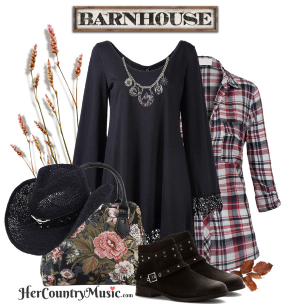 Country Outfit Barn Baby perfect for fall, winter. Love the black cowboy hat and little black boots. Plus shawl dress and what about the plaid?