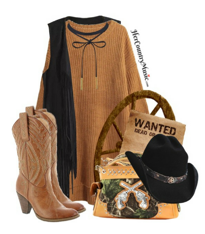 Country Outfit Country Cutie in warm browns and black at HerCountryMusic.com