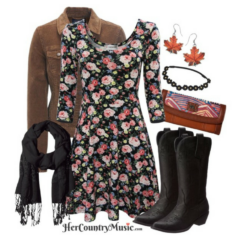 Country Outfit Floral Fall at HerCountryMusic.com