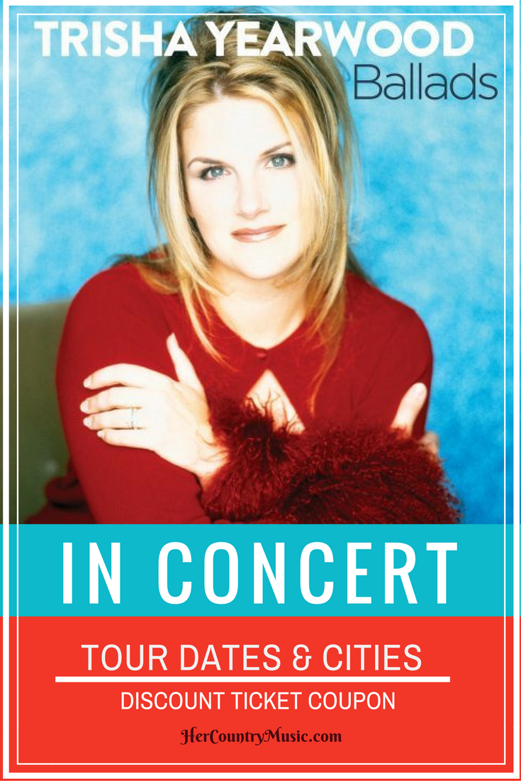 Get the latest Trisha Yearwood tour dates, cities, tickets and other concert news at HerCountryMusic.com. We also have coupon codes for Trisha Yearwood concert.