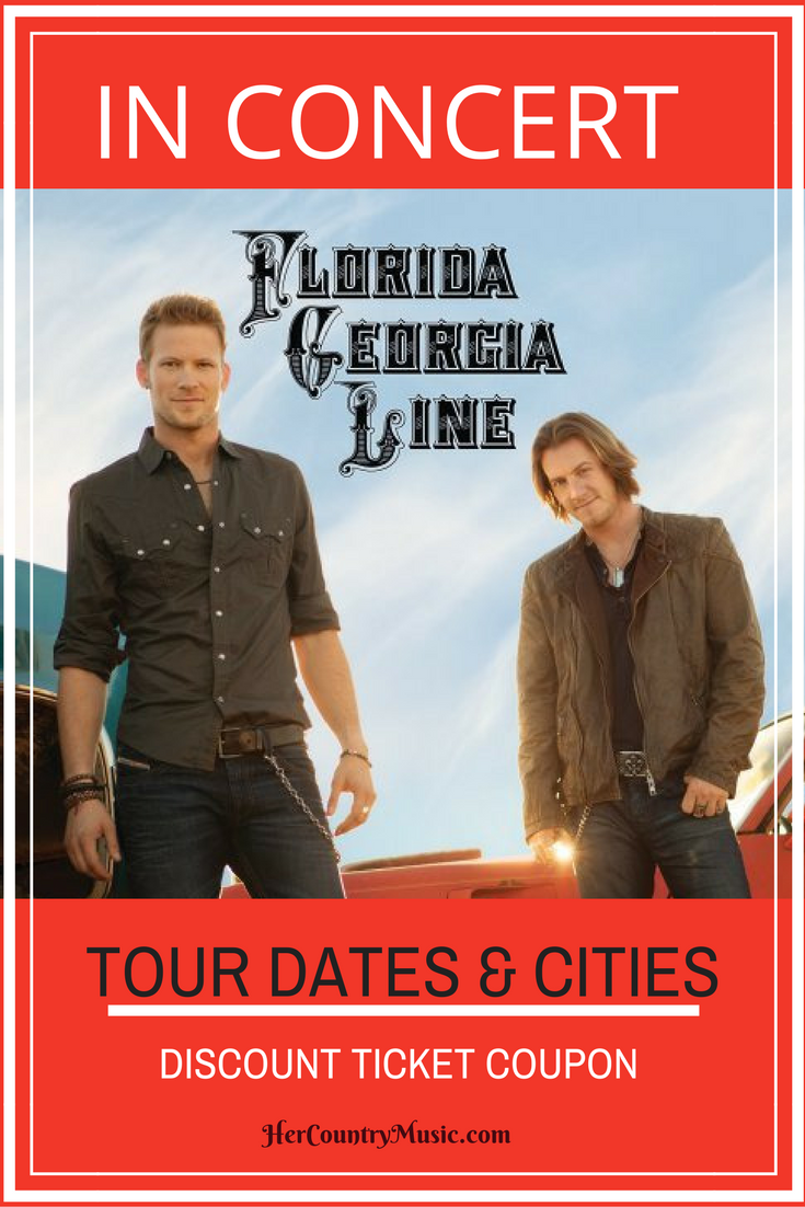 Florida Georgia Line Tour Dates are here at HerCountryMusic.com. They are playing in quite a few cities this year so you'll want to see if a Florida Georgia Line concert is near you. Xo, darlene at HerCountryMusic.com