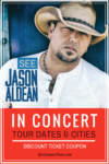 Get the latest Jason Aldean tour dates, cities, tickets and other concert news at HerCountryMusic.com You'll get Jason Aldean tour dates, cities, coupon code for tickets...and more.