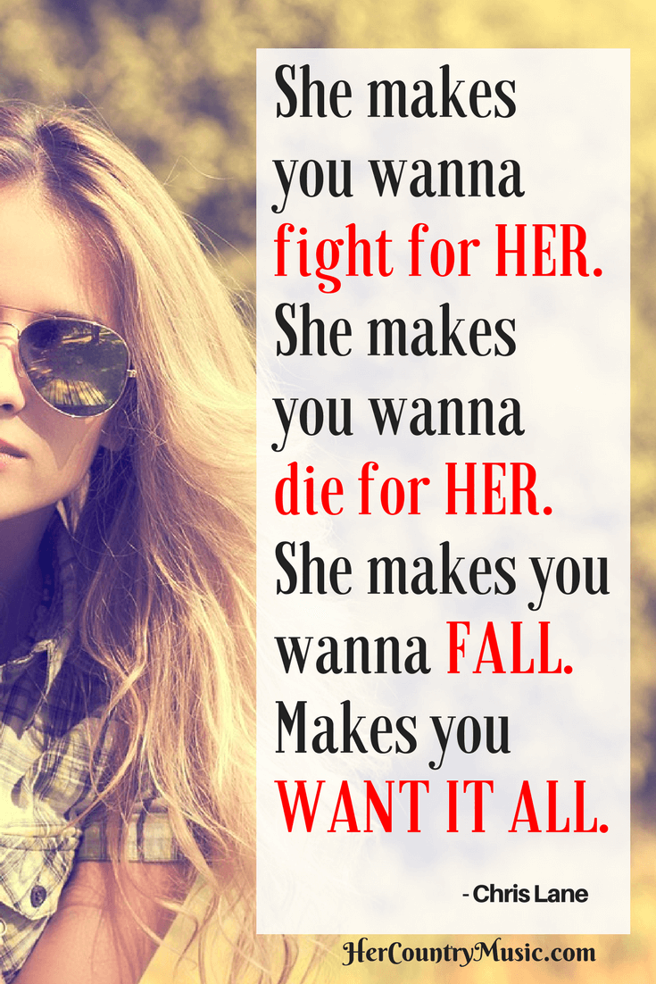 Chris Lane lyrics FOR HER at HerCountryMusic.com. Also Chris Lane concert tickets and concert tour dates.