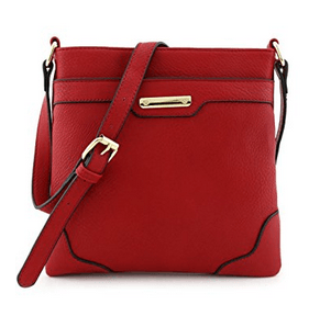 Women's Medium Size Solid Modern Classic Red Crossbody Bag with Gold Plate